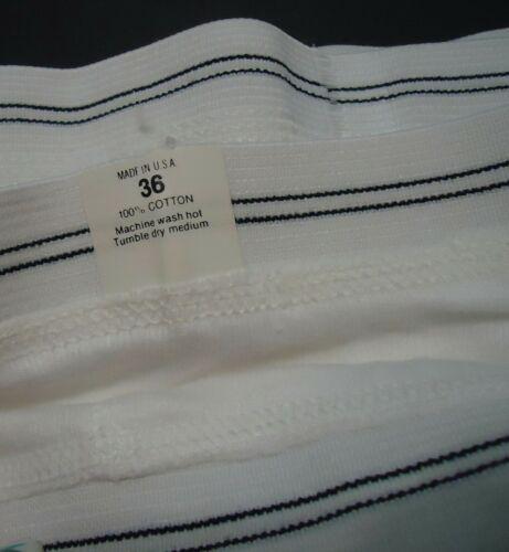 NOS Vtg Briefs White 100% Cotton Double Striped Lines Waist sz 36 US Made