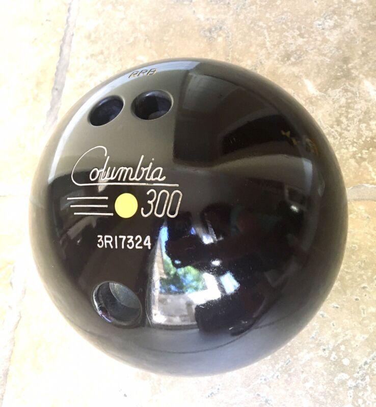 Vintage Columbia 300 Yellow Dot Black Bowling Ball    16lb Don Carter Bag Shoes