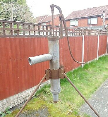 (#13) Old water pump on tripod stand  , ideal as a garden feature , pick up only