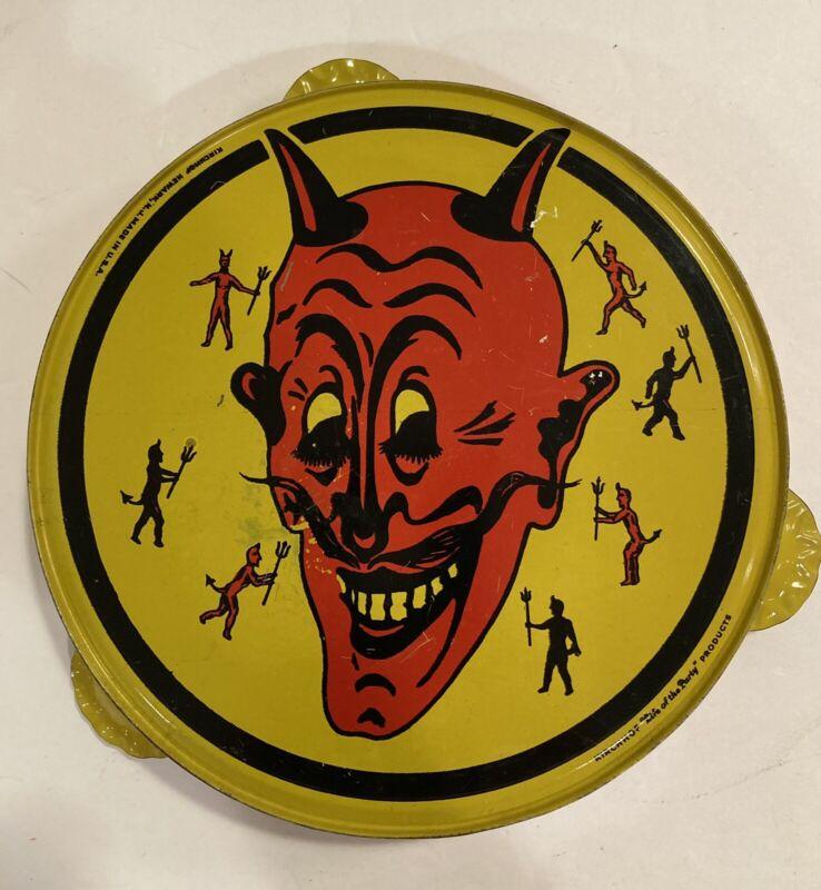 VINTAGE Kirchhof Devil Tambourine Tin Litho Halloween Noisemaker