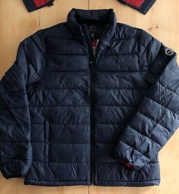 Abercrombie and Fitch Lightweight Hooded Primaloft Navy Puffer Jacket - Small