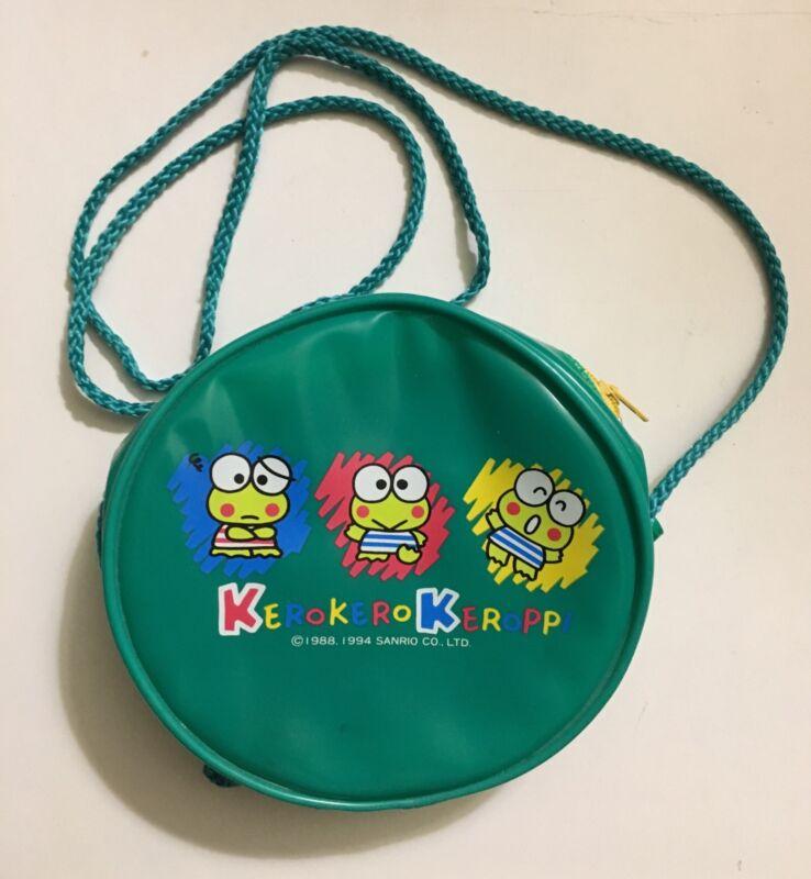 Vintage 1994 Keroppi Frog 7 Inch Round Vinyl Shoulder Purse Handbag Sanrio