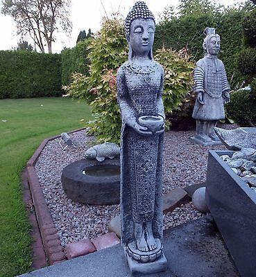 Buddha stehend 67 cm Steinguss Patiniert Feng-Shui Steinfigur Deko Frostfrei