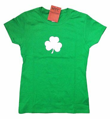 Screen Printed Ladies Shamrock T-Shirt St Patrick's Day Womens Tee Irish Green ()
