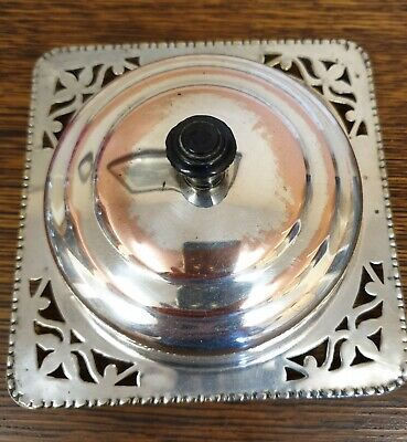 antique silver plate on copper small MUFFIN DISH