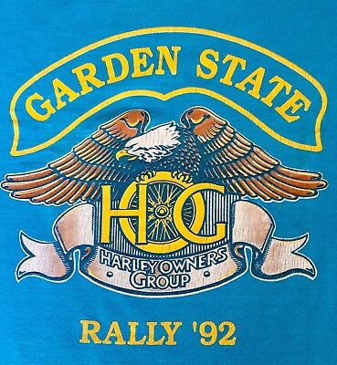 Vtg 1992 Garden State New Jersey HARLEY OWNERS GROUP HOG RALLY  T-SHIRT LG (Jersey Gardens Group Usa)