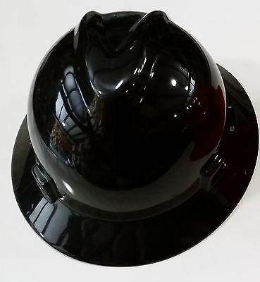 Msa V Gard Black Full Brim Safety Hard Hat  New  One Touch Suspension Fast Ship