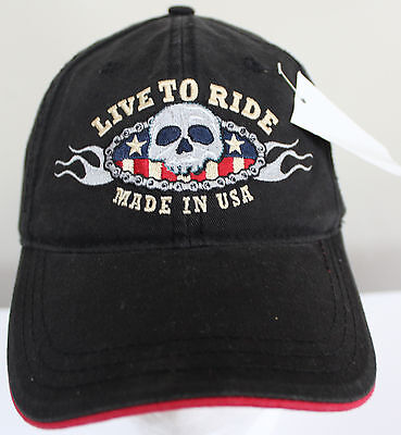 Ball And Chain Hat (New Live to Ride Skull and Flames Ball Cap Hat Adjustable Chains )