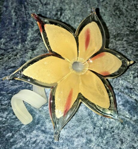 CURLY STEM FLOWER ~ Murano Style Art Glass ~ Peach & Pink Color w/ Gold Glitter