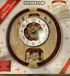 Seiko Melodies In Motion Clock Swarovski Crystals QXM554BR NEW IN BOX FREE SHIP