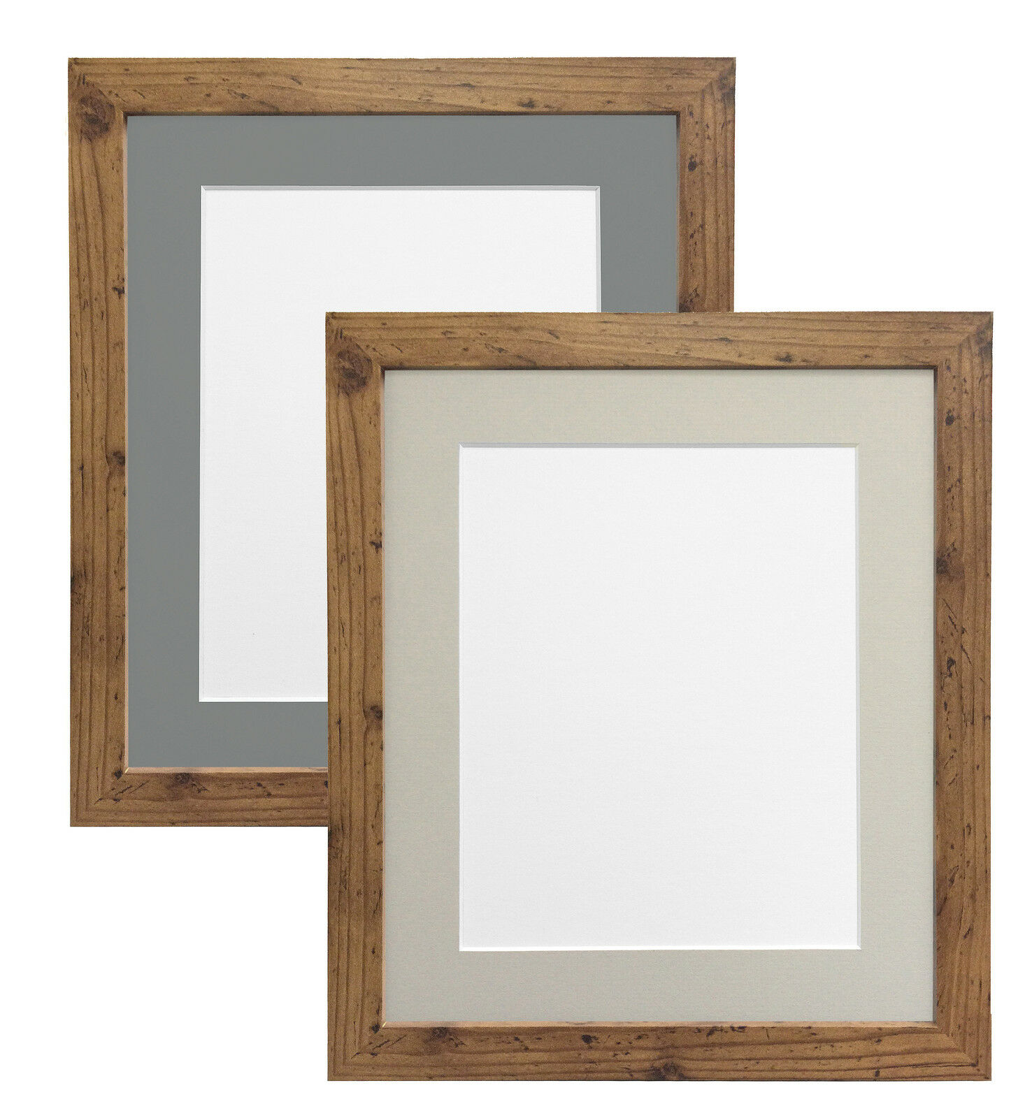 Rustic Oak Photo Picture Frames with Light or Dark Grey Mounts multiple Sizes H7