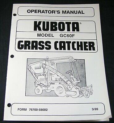 Kubota Gc60f Grass Catcher For Rc60-f20 Rc60-f24 Operators Maintenance Manual