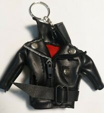 BLACK LEATHER JACKET KEYCHAIN Biker Heavy Metal Punk Rock ...