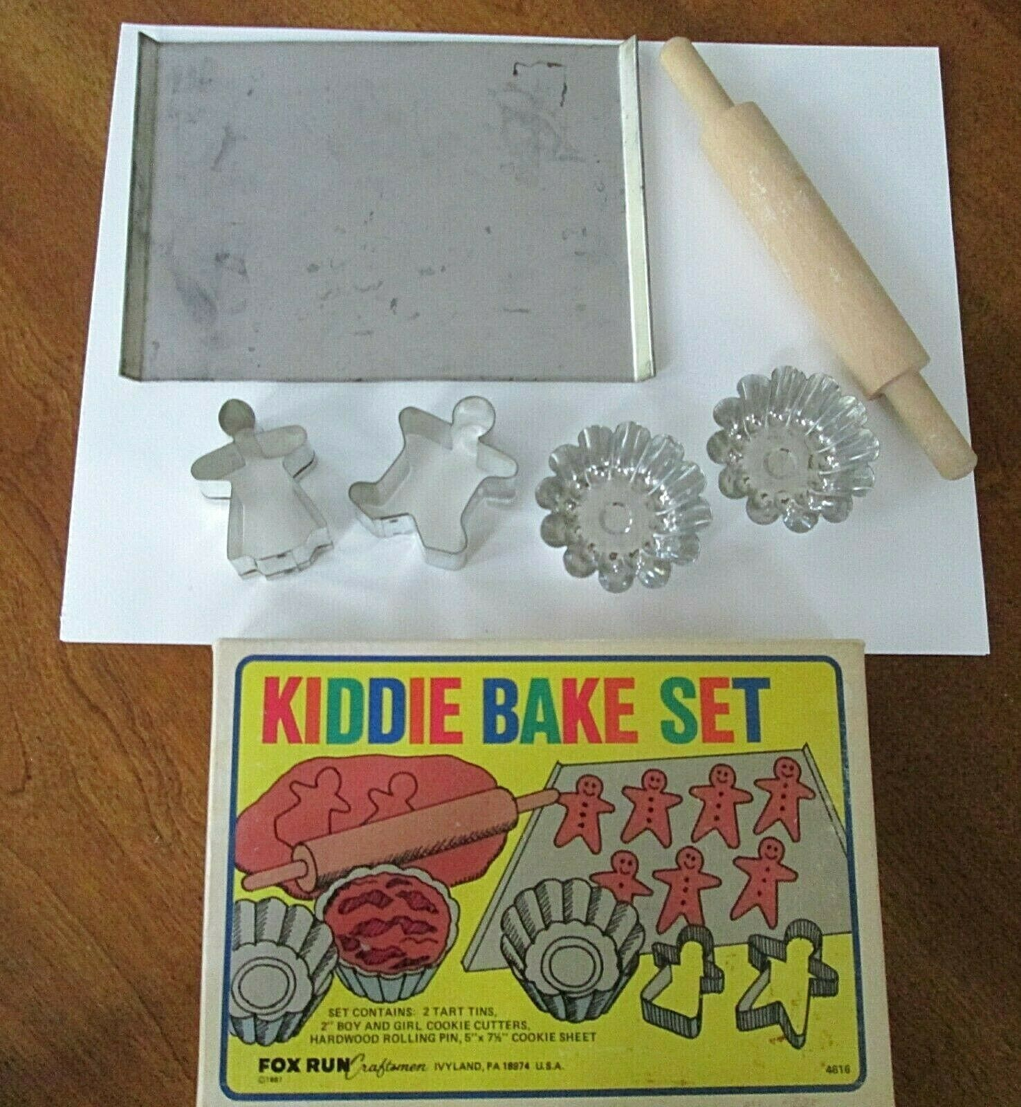 Vtg Fox Run Kiddie Bake Set Wooden Rolling Pin Cookie Sheet