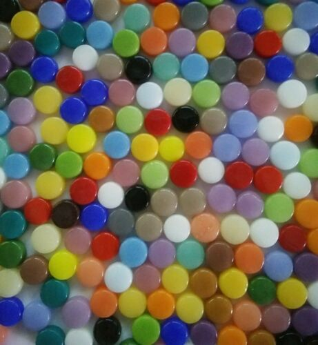 8 mm Round Recycled Glass Mosaic Tiles - 100 Tiles - Mixed Colors - 4 mm thick