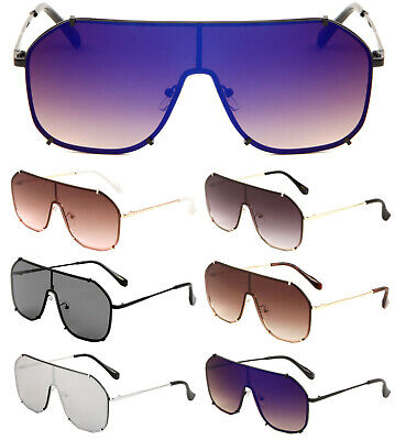 RIMLESS ONE PIECE LENS SHIELD AVIATOR SUNGLASSES LUXURY FANCY RETRO HIP HOP (Shield Lens)