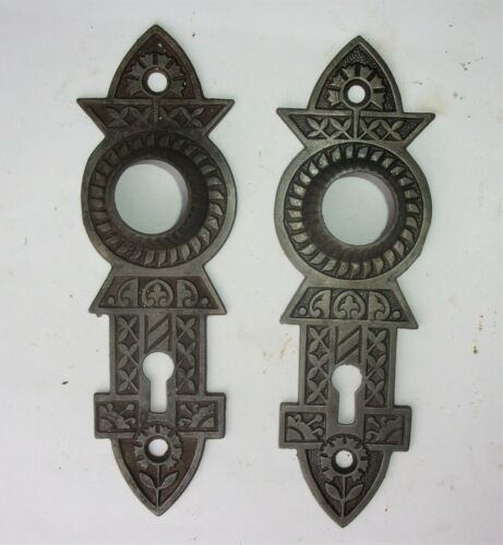Pair of Antique Victorian Eastlake Door Plates Backplate Gothic Design Reclaimed