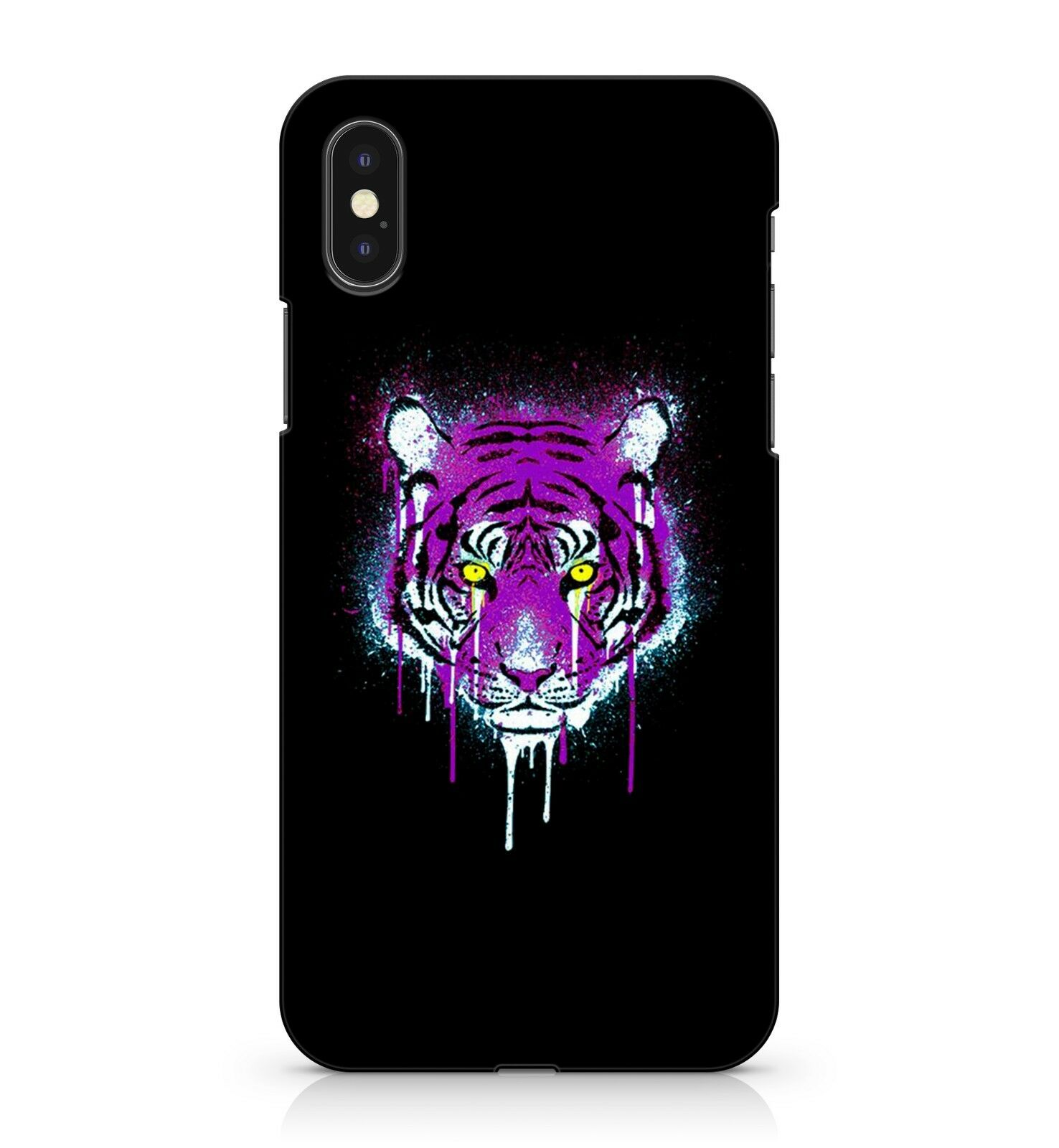 uk availability 3c968 1f0d8 Details about Powerful White Tiger Yellow Eyed Dripping Acrylic Purple  Paint Phone Case Cover