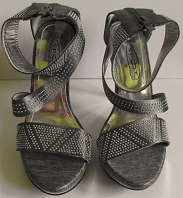 Ladies Silver Studded Satin Platform Ankle Strap Sandal Heels Size 4 (2) 2 Studded Platform Sandal