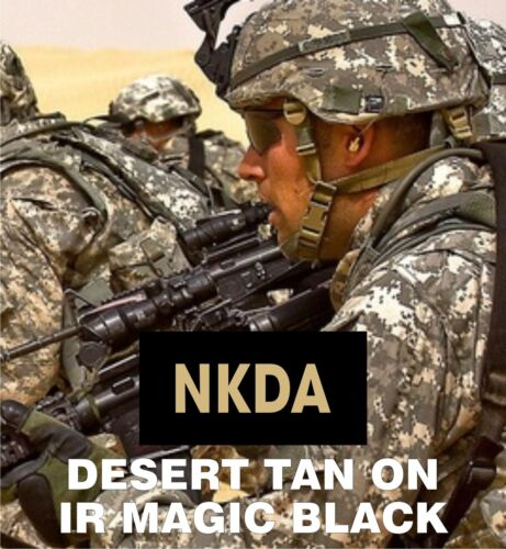 "NKDA TAN ON MAGIC BLACK solasX IR PATCH 2ND 2"" X 1"" WITH VELCRO® BRAND FASTENER"
