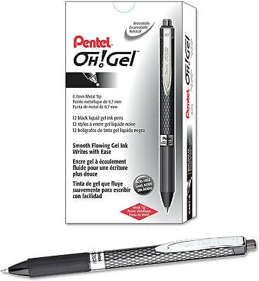 New 12-pack Pentel Oh Gel Retractable Gel Pen Medium Line Black Ink K497-a