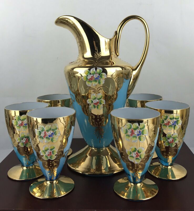 Antique Hand Painted Pitcher And  Glasses Beautiful Set Italy