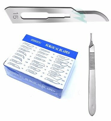 Lot Of 50 Scalpel Blades 15 With 3 Metal Handle Suitable For Dermaplaning