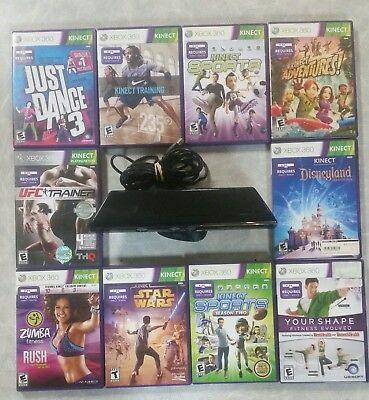 Microsoft Xbox 360 Kinect Motion Sensor Bar Black & 3 games - bundle