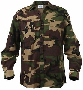 Woodland Camouflage 100 Cotton Button Down Long Sleeve