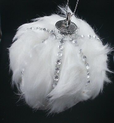 Winter White Fur & Silver Gem Ball  Wedding Decorations / Christmas Ornaments