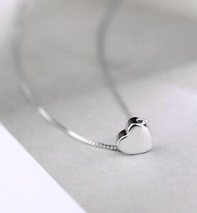 Sterling Silver Heart Necklace Small Pendant Wedding Love Almost 1/4 Mom