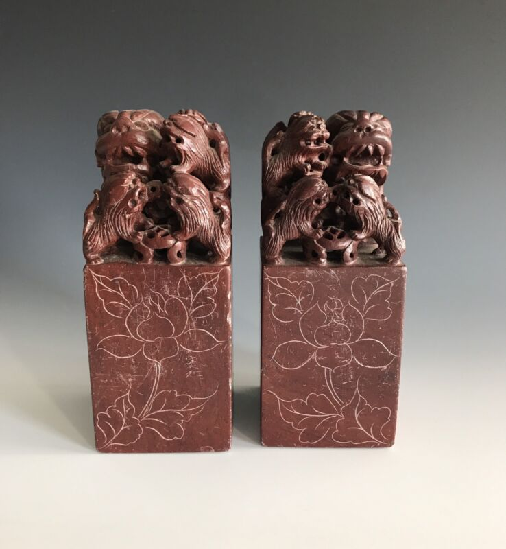 A Pair Of Large Republic Period Uncarved Soapstone Seals