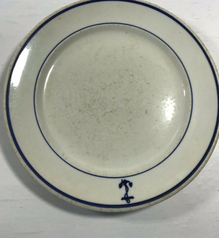 Buffalo China Vintage Blue Anchor USA Restaurant Dinnerware 1pc Dinner Plate 9""