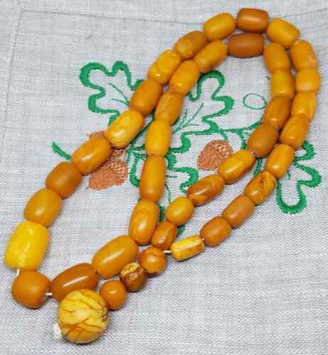 Amber baltic antique natural old egg yolk rare beads 41gramm fine condition