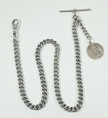 BEAUTIFUL EDWARDIAN SOLID SILVER Henry Allday DOUBLE LINK ALBERT CHAIN & T BAR
