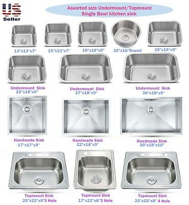 (Stainless Steel Topmount / Undermount Single Bowl Kitchen Sink Various Sizes)
