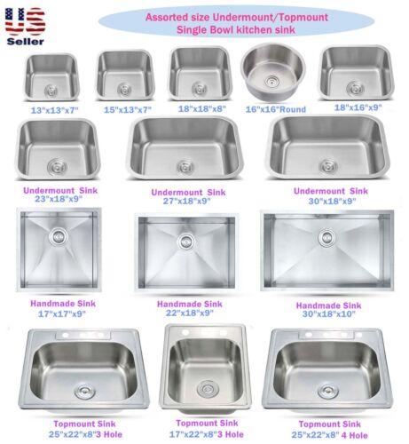 Stainless Steel Topmount / Undermount Single Bowl Kitchen Sink Various Sizes