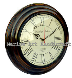 Huntleigh Station 11 Wooden Antique Wall Clock Nautical Home and Office Decor