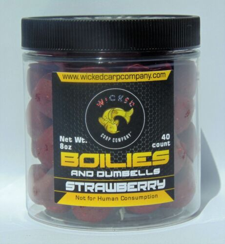 Carp and Catfish Bait Boilies and Dumbells Strawberry