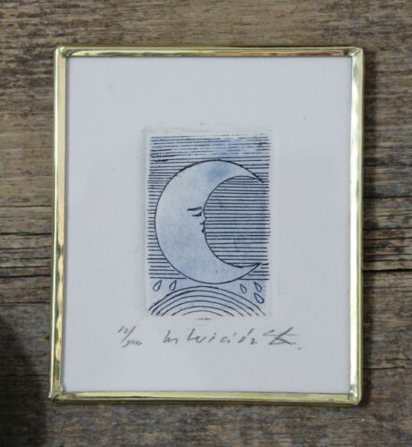 Sm Print Crescent Moon Face Etching Handmade Framed by Abelar Mexican Folk Art