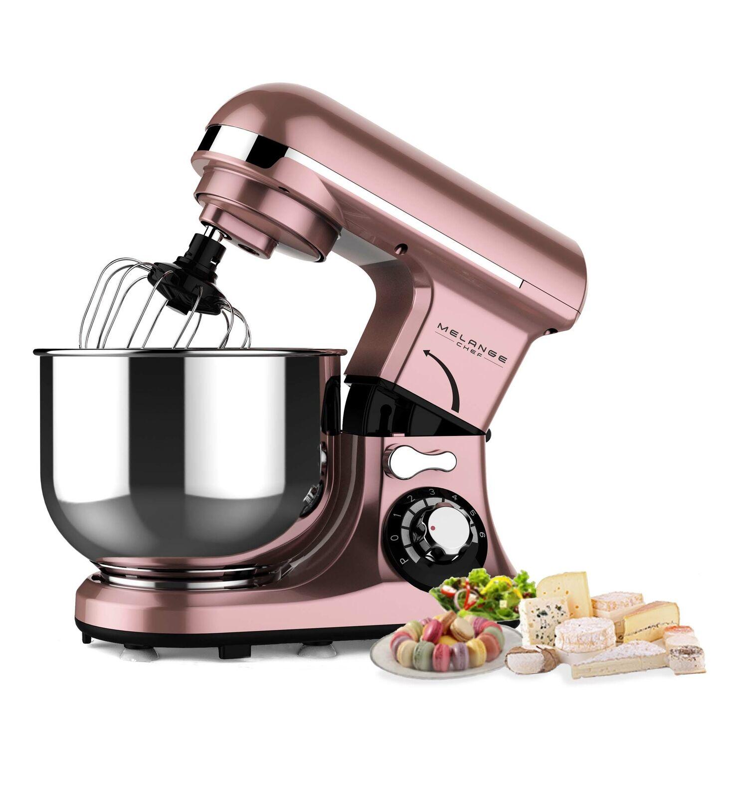Küchenmaschine Rosa, Grün 600W, 4L Edelstahlschüssel,7 Geschwindigkeiten mit LED