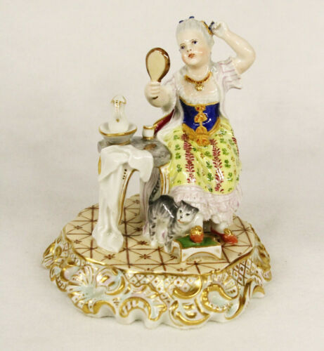 Antique Royal Vienna Hand Painted Porcelain Figurine Boudoir Scene 19th century
