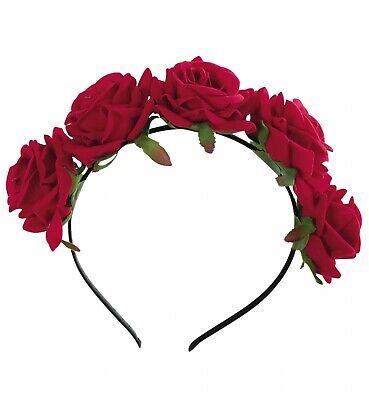 Kostüm Accessoires Haarreif rote Rosen Blütenhaarreif Halloween Karneval