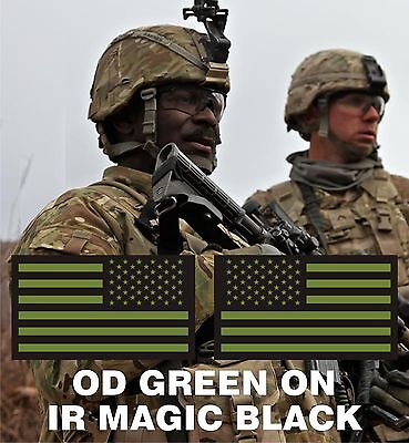"SET USA FLAG OD GREEN ON IR MB solasX PATCH 3.5""X2"" WITH VELCRO® BRAND FASTENER"