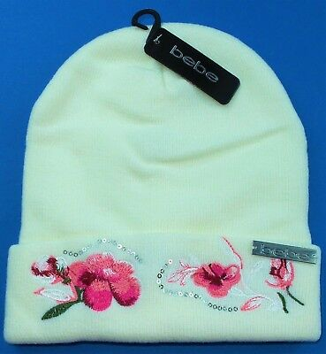 BEBE Women s Beanie Winter Hat Ivory Sequin Embroidered Floral Knit Logo  New Tag 7a906457090c