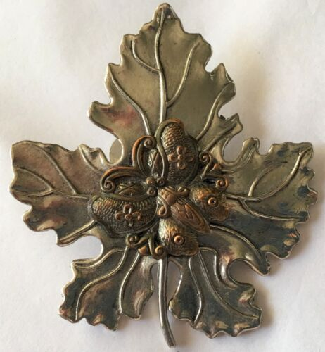 Vintage Sylvia Dahl Maple Leaf Butterfly Scarf clip pin