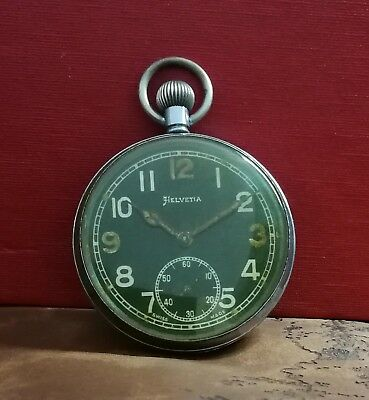 RARE! HELVETIA WWII 20's MILITARY GENERAL cal.32A VINTAGE SWISS POCKET WATCH.