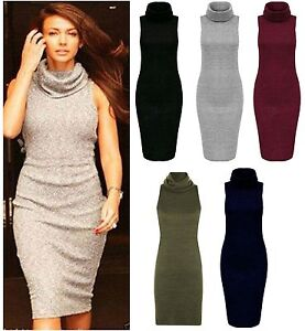 Women-Knitted-Turtle-Cowl-Neck-Midi-Top-Ladies-Bodycon-Party-Dress-Plus-UK-8-18
