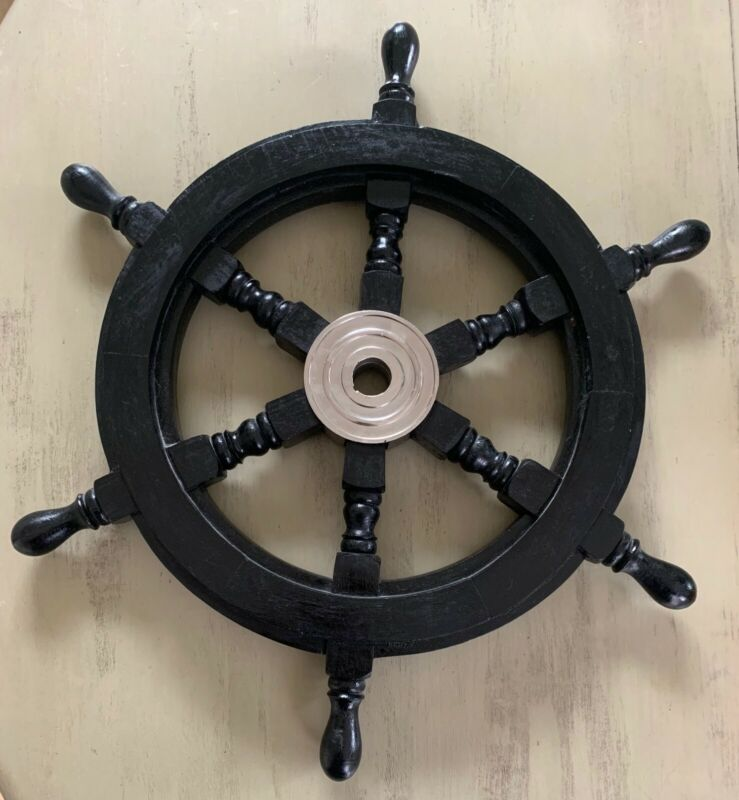 "18"" in Black Ship Wheel, solid wood / Chrome ~ Nautical Maritime wall decor"
