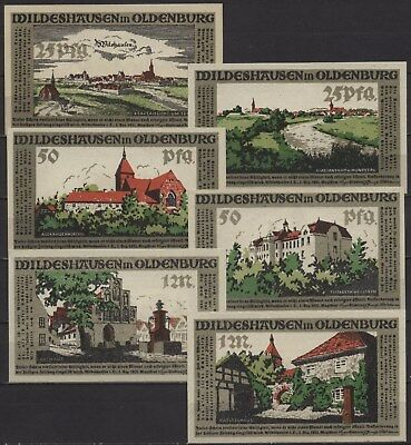 [18216] - 6 x NOTGELD WILDESHAUSEN in OLDENBURG, Stadt, 25 Pf - 1 Mark, 01.12.19